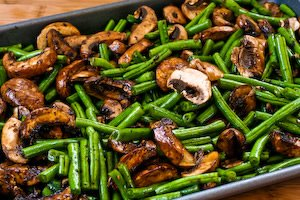Green Beans with mushrooms basalmic and parmesan