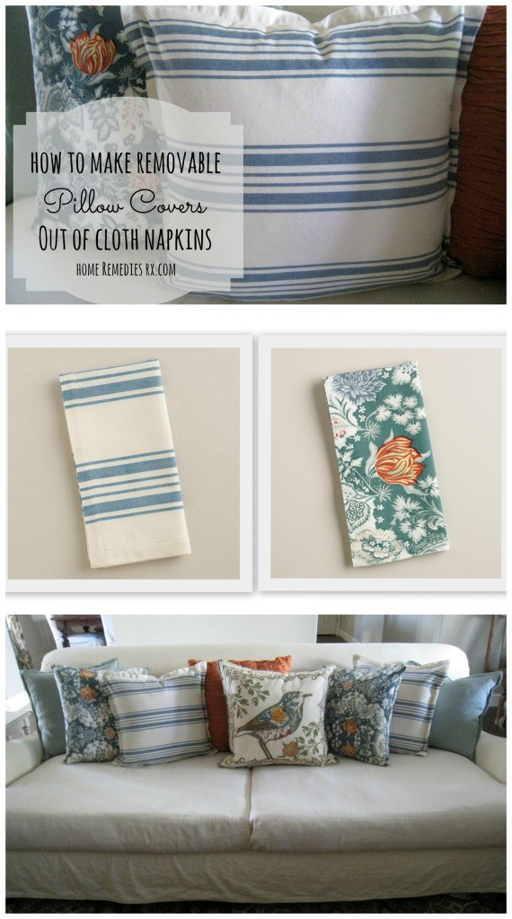Learn how to make inexpensive pillow covers out of cloth napkins
