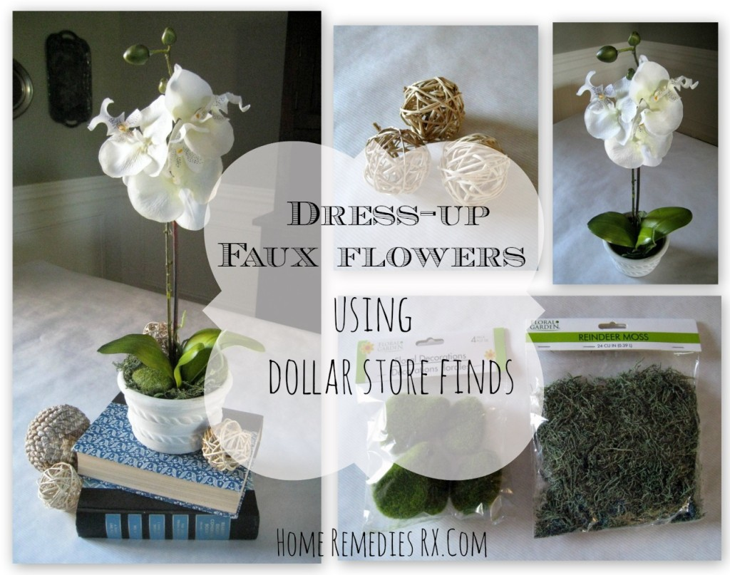 Dress up faux flowers using Dollar Store finds
