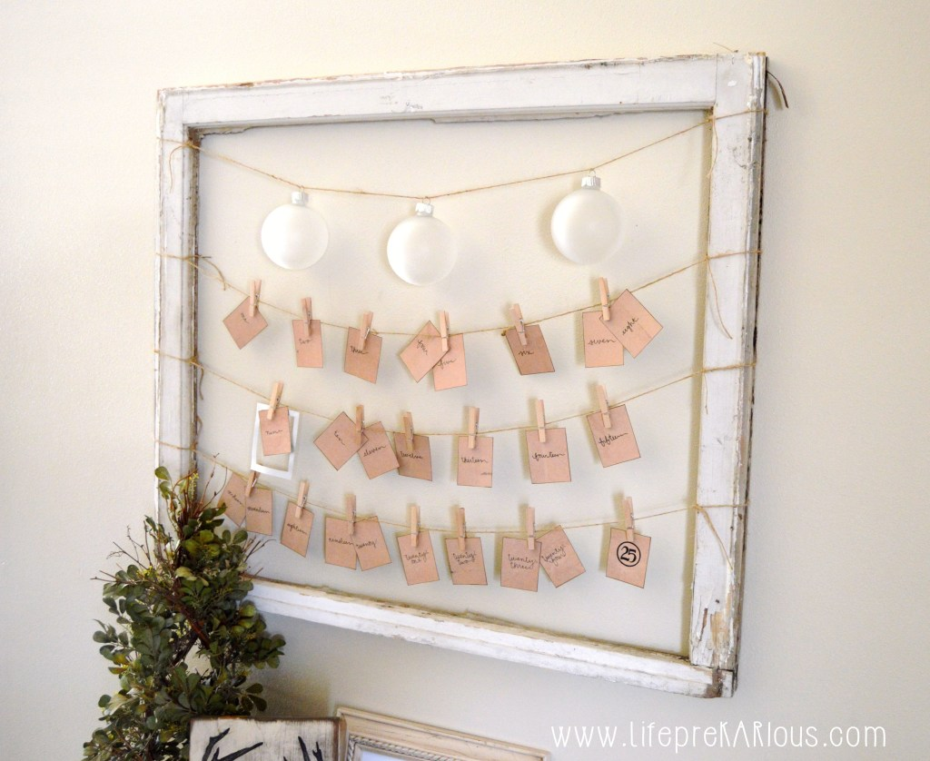 Repurposed Window Frame - Christmas Countdown | Life Prekarious