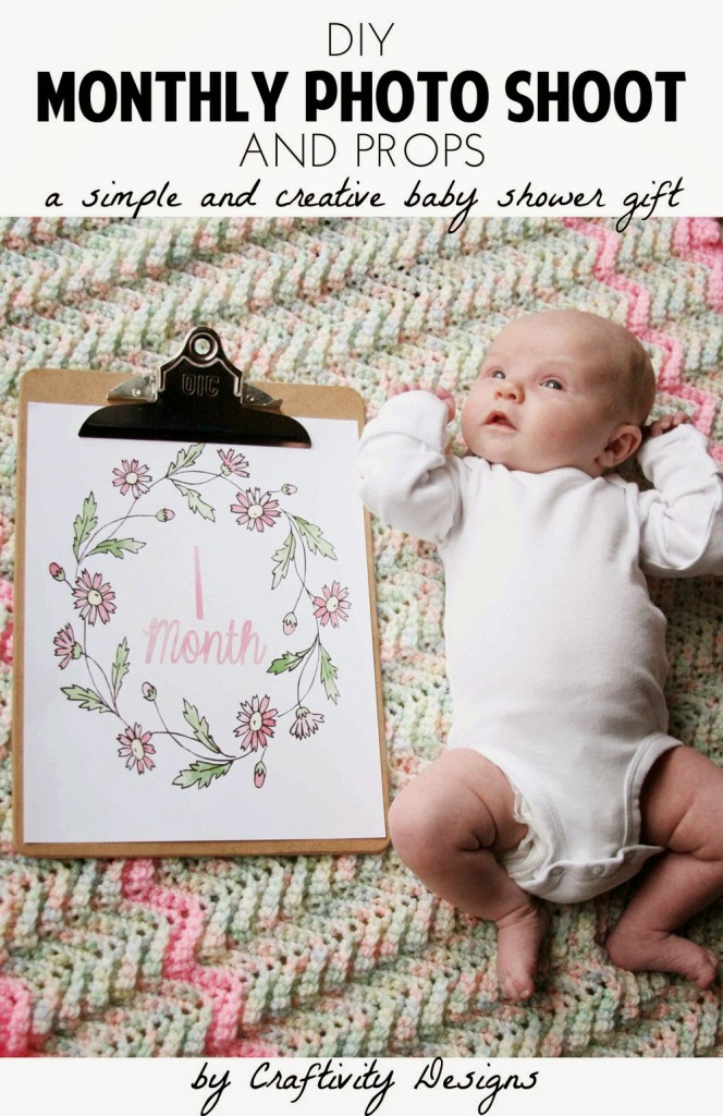 DIY Monthly Baby Photos - Baby Shower Gift | Craftivity Designs