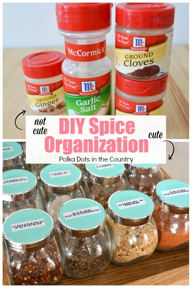 DIY Spice Organization | Polka Dots In The Country