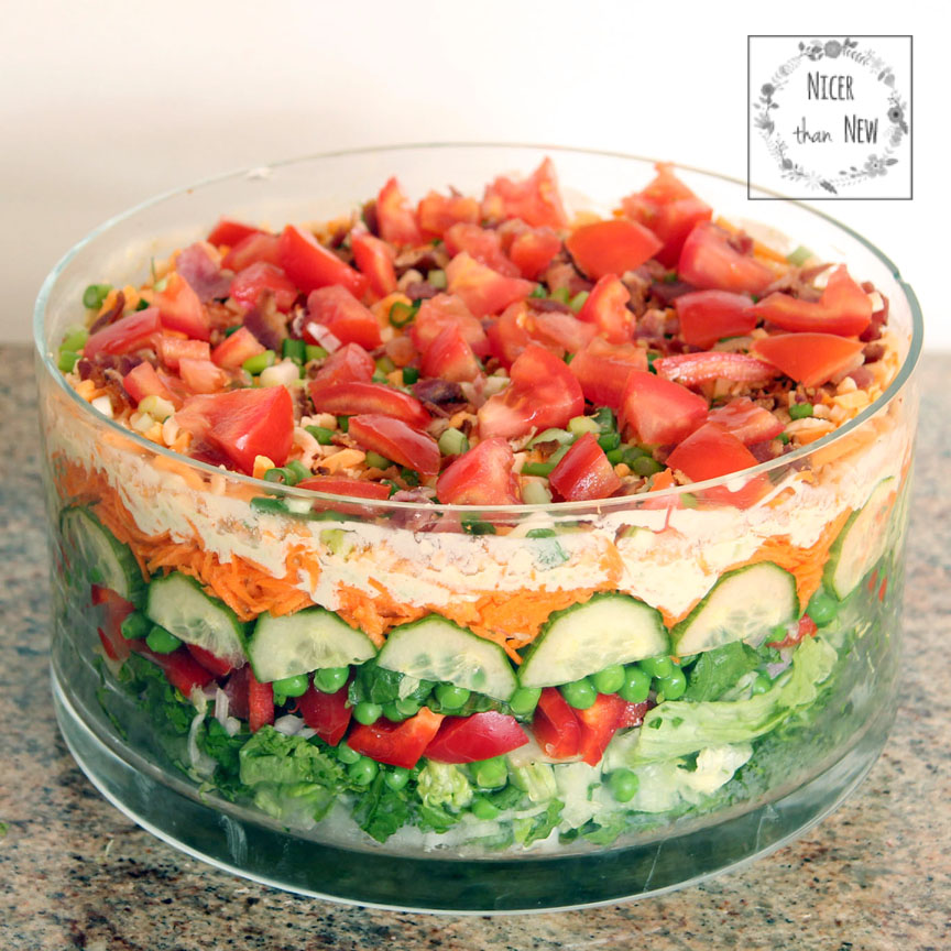 Classic Layered Salad With Avacado Cream | Nicer Than New