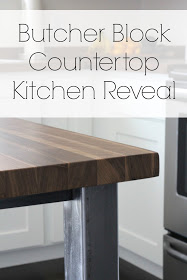 Butcher Block Countertop Kitchen Revea| Lou Lou Girls