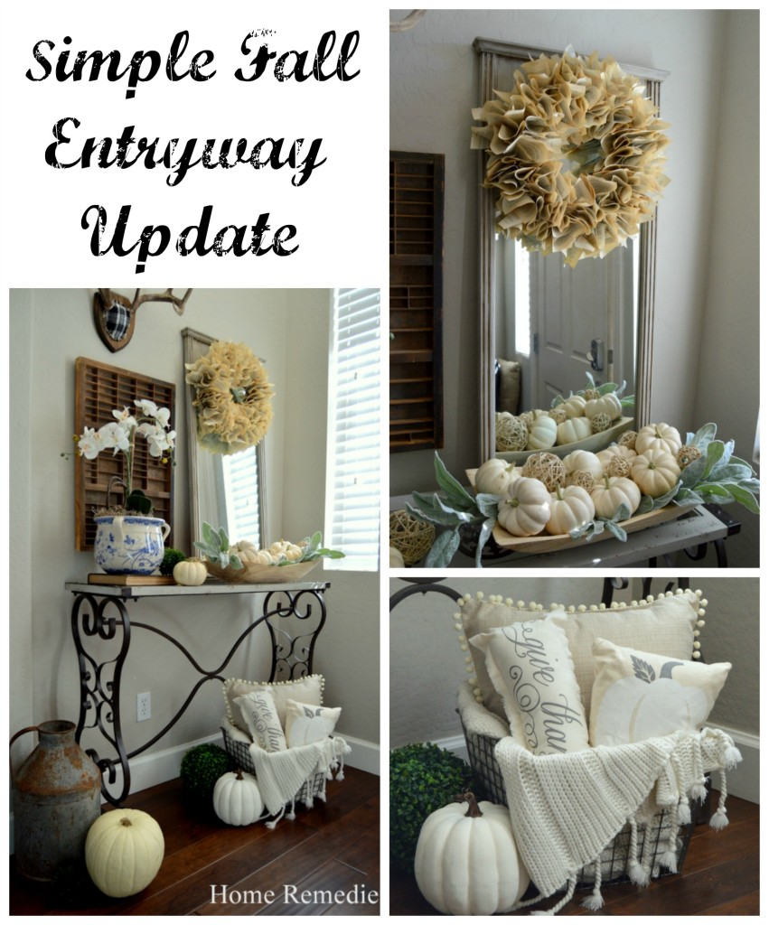 A Rustic Fall Entryway with pumpkins and vintage home decor items! | HomeRemediesRx.com
