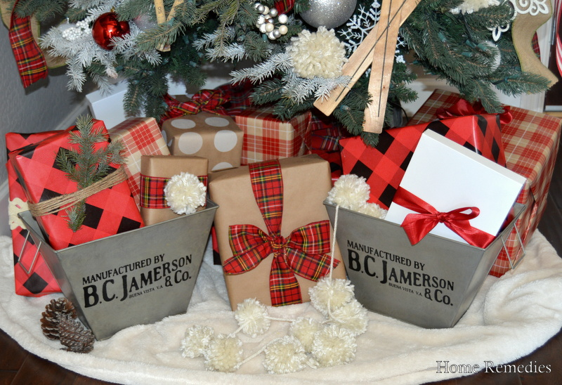 Metal Bins from Vintage Farmhouse Finds holding Christmas Presents Under The Tree | HomeRemediesRx.com